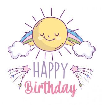 Feliz cumpleaños celebración fiesta sol nubes arco iris tarjeta