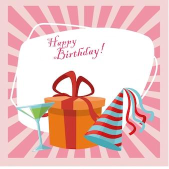 Feliz cumpleaños celebración fiesta sombrero caja de regalo y bebida