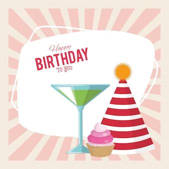 Feliz cumpleaños celebración fiesta sombrero cupcake y bebida