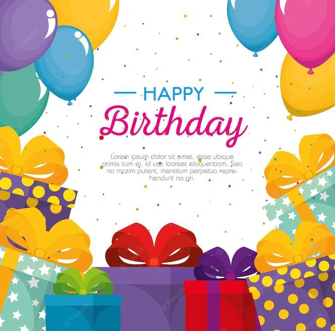 Feliz cumpleaños celebración tarjeta con regalos presentes
