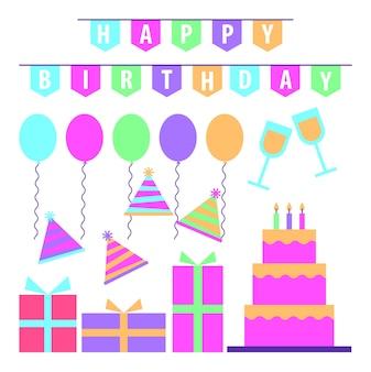 Feliz cumpleaños celebración torta regalos banderín partido sombreros.