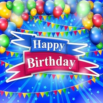 Feliz cumpleaños colorfull con fondo de globos