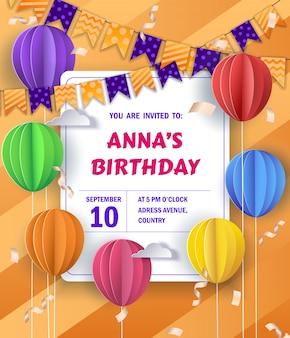 Feliz cumpleaños colorido invitación de cumpleaños, tarjeta en papel estilo. vector