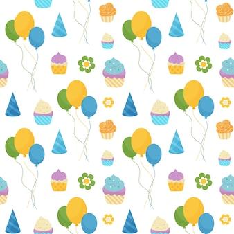 Feliz cumpleaños colorido patrón sin costuras