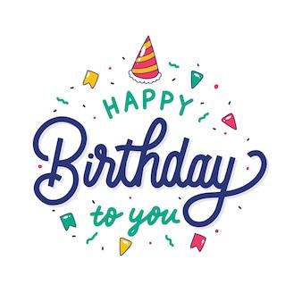 Feliz cumpleaños colorido para ti letras de mano