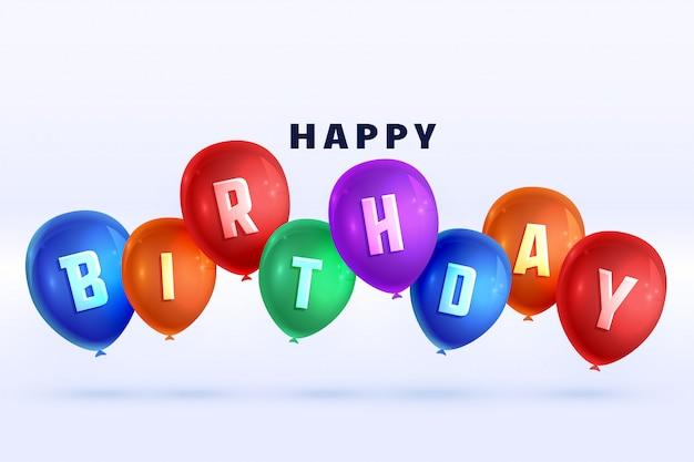 Feliz cumpleaños coloridos globos 3d fondo