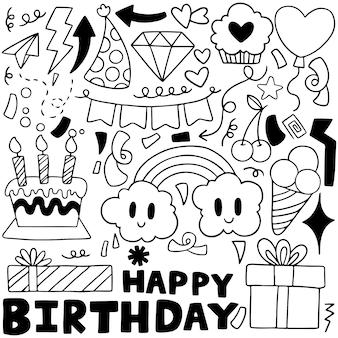 Feliz cumpleaños composición de elementos de doodle