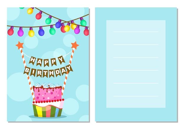 Feliz cumpleaños conjunto de postales para niños