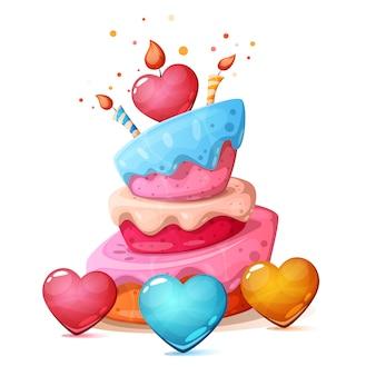 Feliz cumpleaños, corazón, pastel ilustración