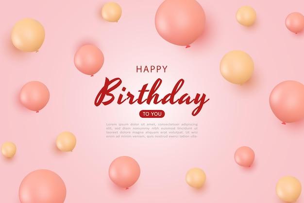 Feliz cumpleaños con decoración de globos rosa y dorado