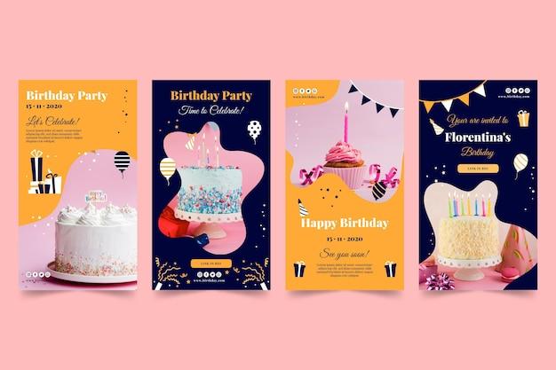Feliz cumpleaños delicioso pastel historias de instagram
