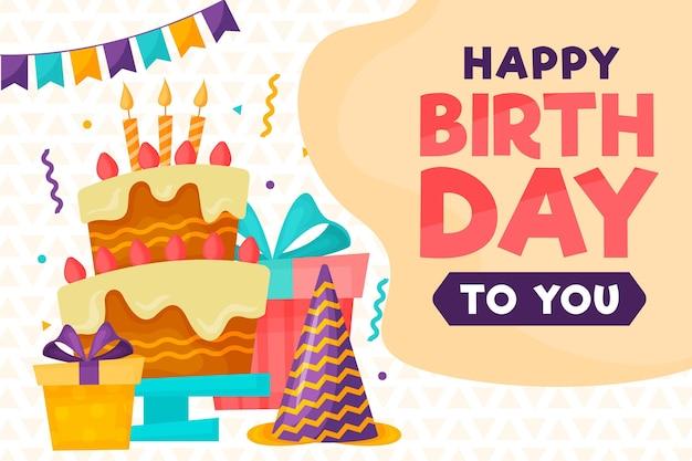 Feliz cumpleaños con un delicioso pastel.