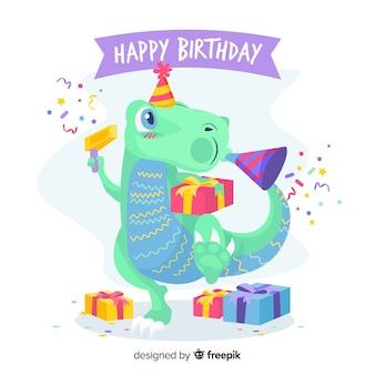 Feliz cumpleaños con dinosaurio y regalos