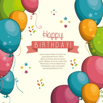Feliz cumpleaños diseño aislado