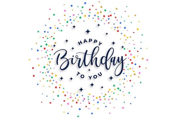 Feliz cumpleaños diseño de confeti de celebración