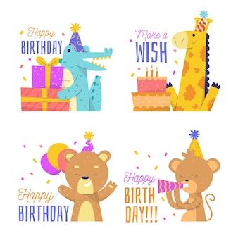 Feliz cumpleaños diseño plano colección de animales lindos