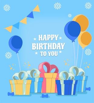 Feliz cumpleaños con diseño plano de regalo, globo y caramelo.