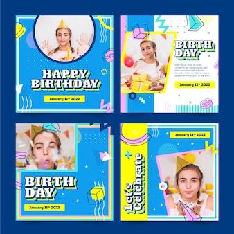Feliz cumpleaños diseño de publicación de instagram