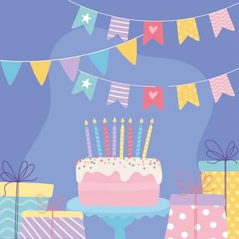 Feliz cumpleaños, dulce pastel con velas, sorpresas de regalo y banderines, celebración, decoración, caricatura