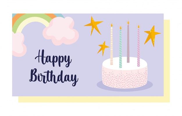 Feliz cumpleaños, dulce pastel con velas y tarjeta de decoración de celebración de dibujos animados de arco iris