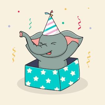 Feliz cumpleaños elefante dentro de la caja