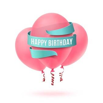 Feliz cumpleaños escrito en cinta azul con tres globos rosados aislados