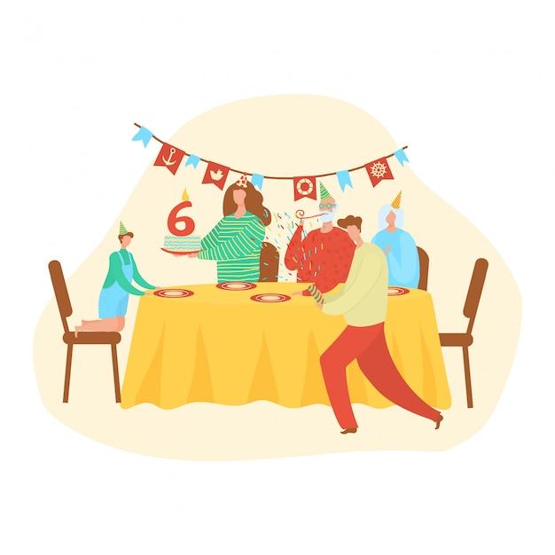 Feliz cumpleaños familia y niño, decoración de pastel número seis letras, personas en celebración, abuelo, abuela, padre, madre e hijo ilustración de dibujos animados.