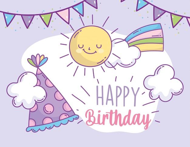 Feliz cumpleaños fiesta de celebración de decoración de sombrero de arco iris y bunting
