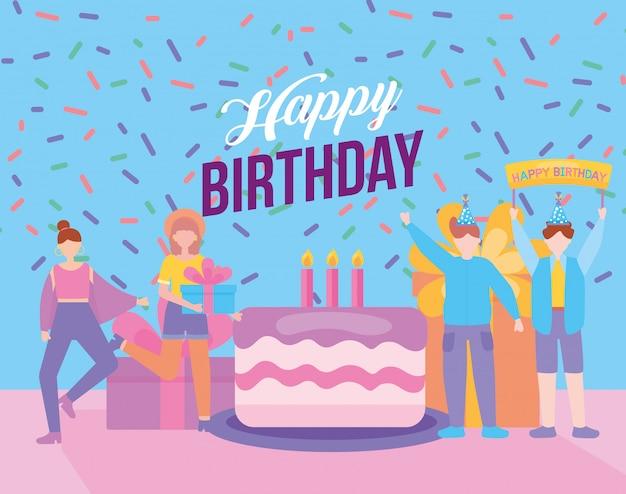 Feliz cumpleaños fiesta celebración con jóvenes ilustración