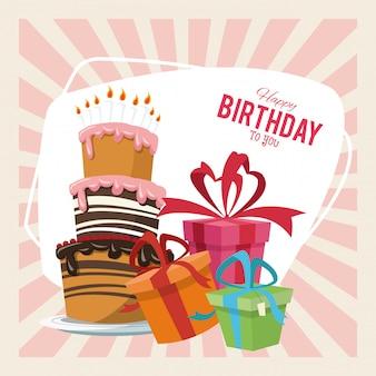 Feliz cumpleaños fiesta fiesta dulce pastel y cajas de regalo