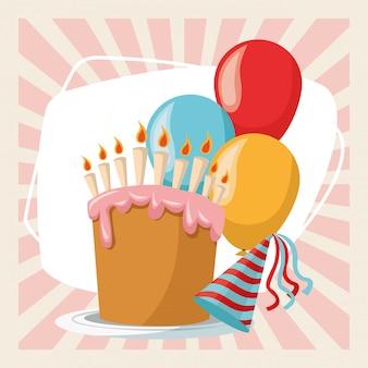 Feliz cumpleaños fiesta fiesta dulce pastel globos y sombrero