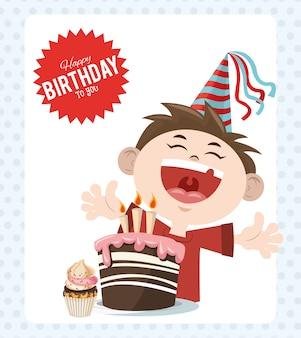 Feliz cumpleaños fiesta fiesta muchacho alegre con pastel y cupcake