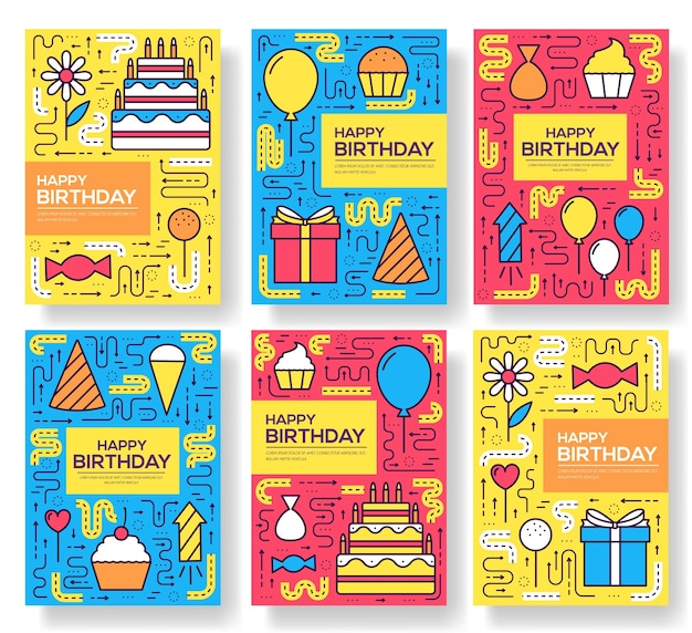 Feliz cumpleaños fiesta folleto tarjetas conjunto de línea fina. plantilla de forma de caramelo de flyear, carteles, pancartas.
