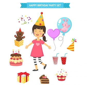 Feliz cumpleaños fiesta niños set ilustración