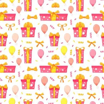 Feliz cumpleaños fiesta de patrones sin fisuras con cajas de regalo rosa y amarillo, globos aerostáticos, confeti, arcos