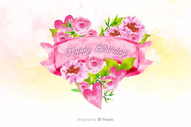 Feliz cumpleaños fondo acuarela con corazón de flores