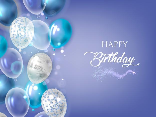 Feliz cumpleaños fondo azul con globos.