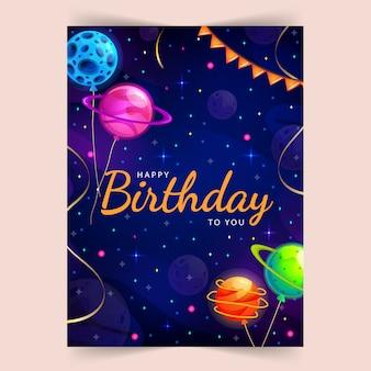 Feliz cumpleaños. fondo del espacio y el universo con serpentinas doradas realistas y planetas lindos.