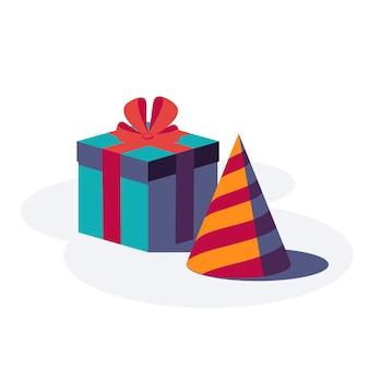 Feliz cumpleaños fondo festivo. caja de regalo con cinta y lazo y gorro de fiesta aislado sobre fondo blanco. ilustración.