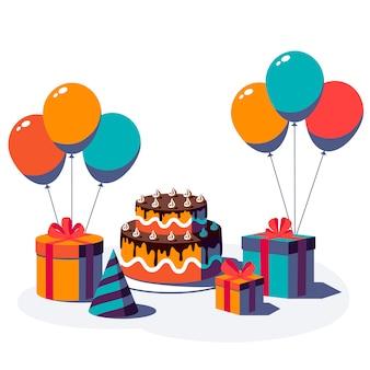 Feliz cumpleaños fondo festivo. caja de regalo con cinta y lazo, gorro de fiesta, globo y pastel aislado sobre fondo blanco. ilustración.