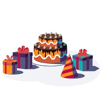 Feliz cumpleaños fondo festivo. caja de regalo con cinta y lazo, gorro de fiesta y pastel aislado sobre fondo blanco. ilustración.