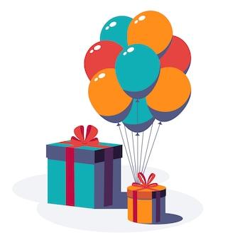 Feliz cumpleaños fondo festivo. cajas de regalo con cinta y lazo, globos aislados sobre fondo blanco. ilustración.