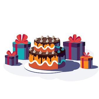 Feliz cumpleaños fondo festivo. cajas de regalo con cinta y lazo y pastel aislado sobre fondo blanco. ilustración.