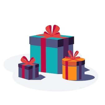 Feliz cumpleaños fondo festivo. cajas de regalo de colores con cinta y lazo aislado sobre fondo blanco. ilustración.