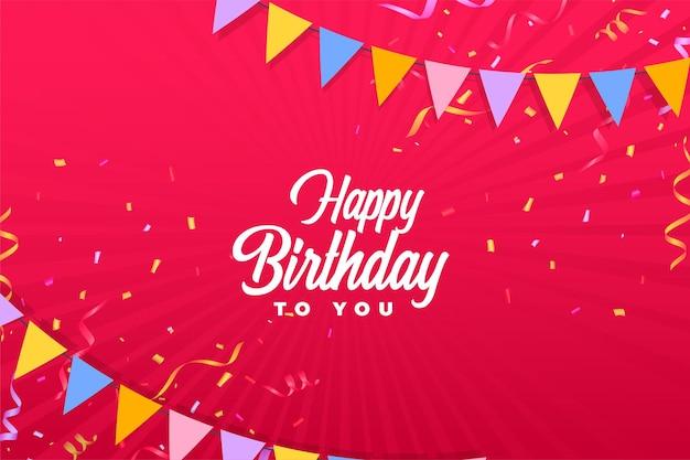 Feliz cumpleaños fondo rojo con confeti y banderas