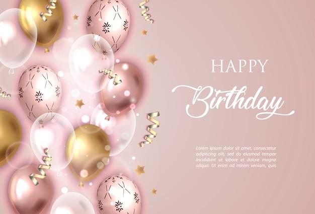 Feliz cumpleaños fondo rosa con globos.