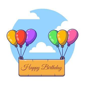 Feliz cumpleaños frontera volando con globos ilustración de dibujos animados plana.