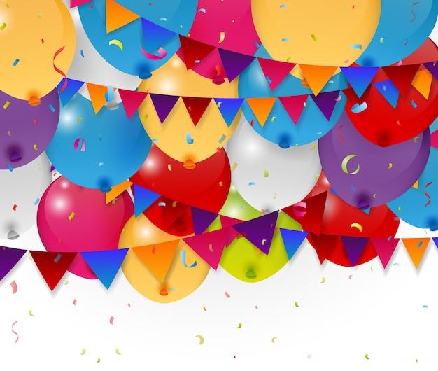 Feliz cumpleaños globo y banderas del empavesado