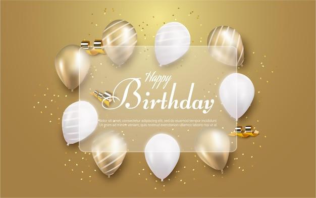 Feliz cumpleaños con globo realista