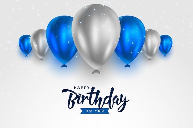 Feliz cumpleaños globos brillantes blancos azules y plateados